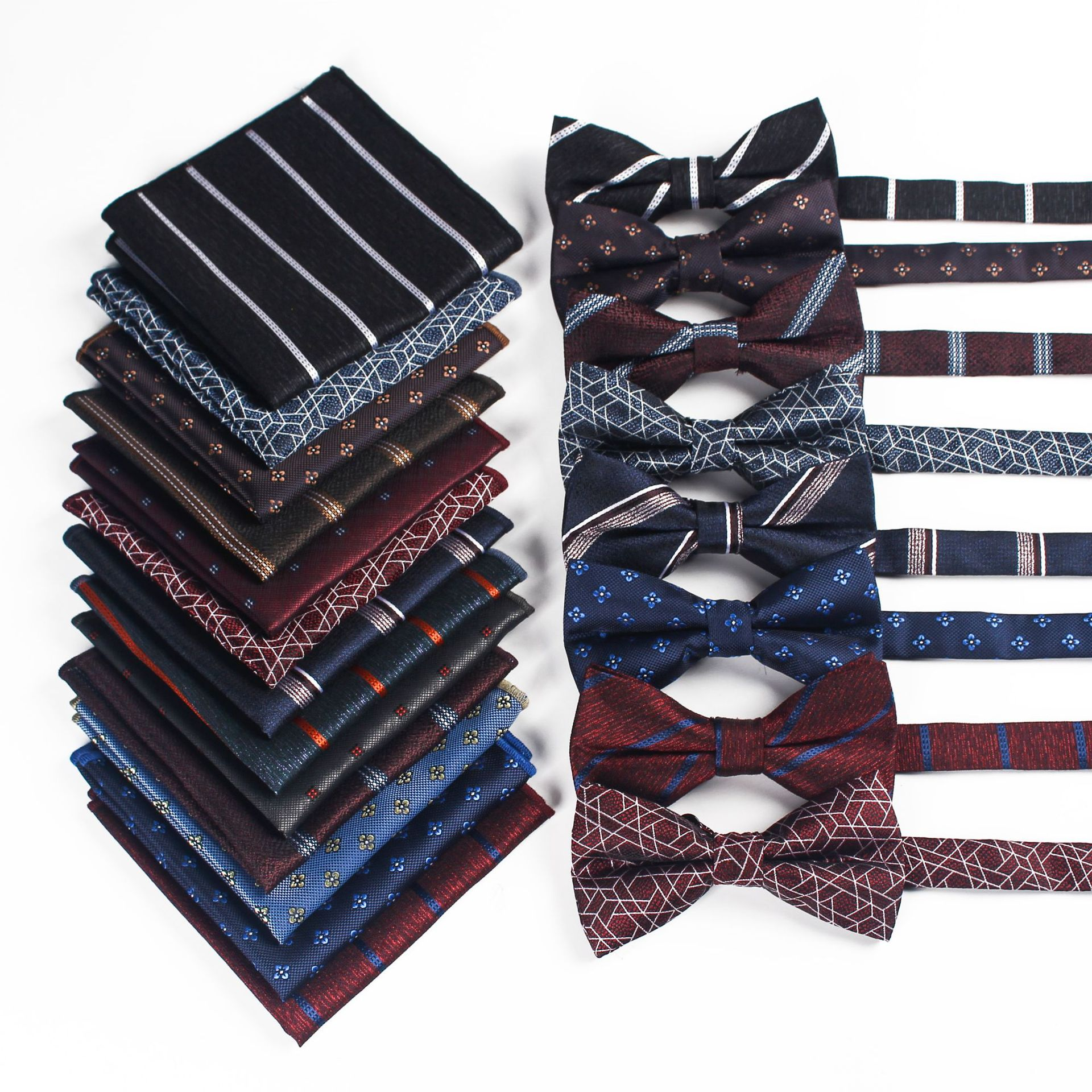 HUISHI Bow Tie Pocket Square Set For Men Wedding Party Business Luxury Bowtie Set Hankerchief Bowknot Wholesale Accessories недорого