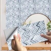 10 pieces ensemble Marbre Motif Carreaux Autocollant Cuisine Salle De Bain Chambre Decor A La Maison Surface Brillante Impermeable Peel   Stick Art Papier Peint