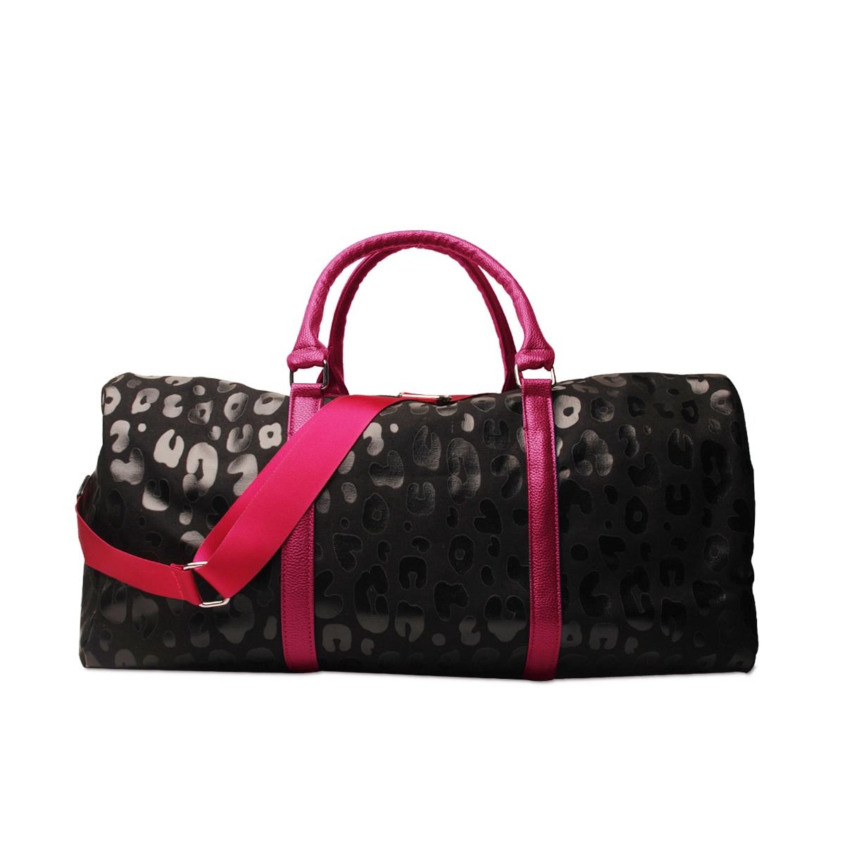 DOMIL الساخن الأسود ليوبارد تصميم سعة كبيرة بو عطلة نهاية الأسبوع حقائب قماش السفر التسوق مخلب محفظة لا نهاية لها حمل حقيبة 1111065