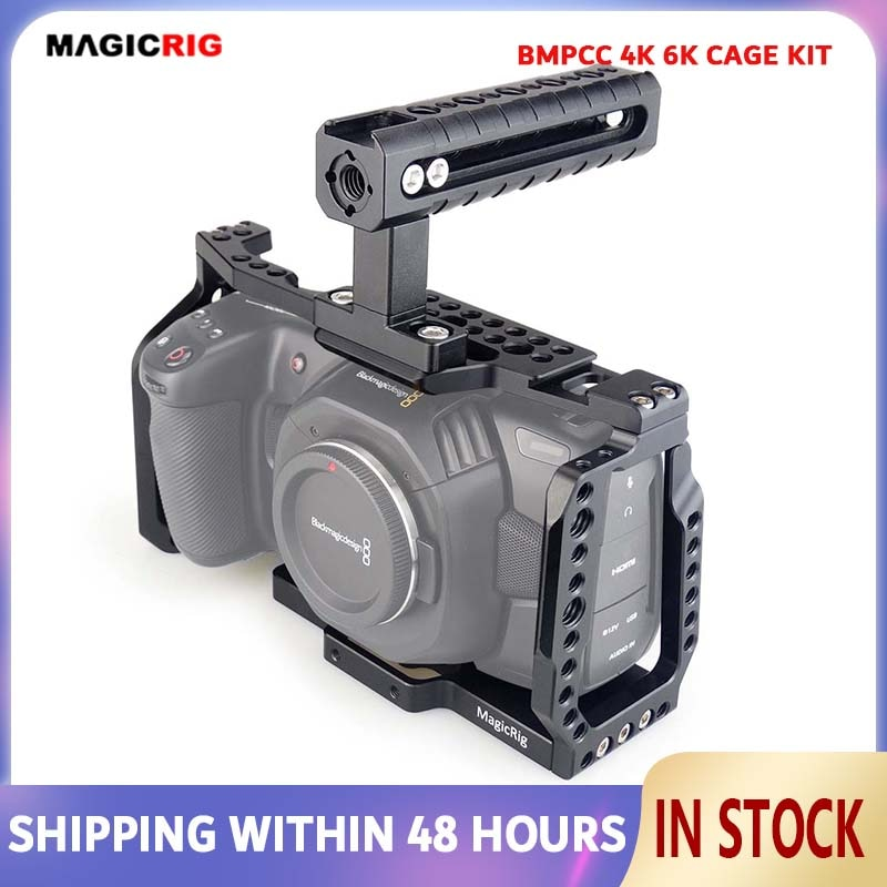 MAGICRIG Camera Cage Kit with Top Handle for Blackmagic Pocket Cinema Camera BMPCC 4K/6K to Mount Microphone Monitor LED Light