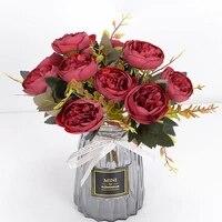 Vases de roses a the multicolores pour decoration de maison  accessoires de fausses marguerite  fleurs artificielles decoratives en plastique pour mariage  bon marche