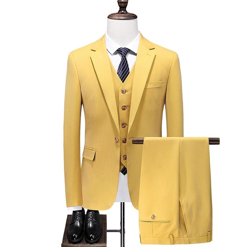 (Jacket+Vest+Pant) Luxury Men Suit Sets Latest Design Dress Suits Slim Men's Groom Tuxedo Suit Men Suits luxury wedding dress