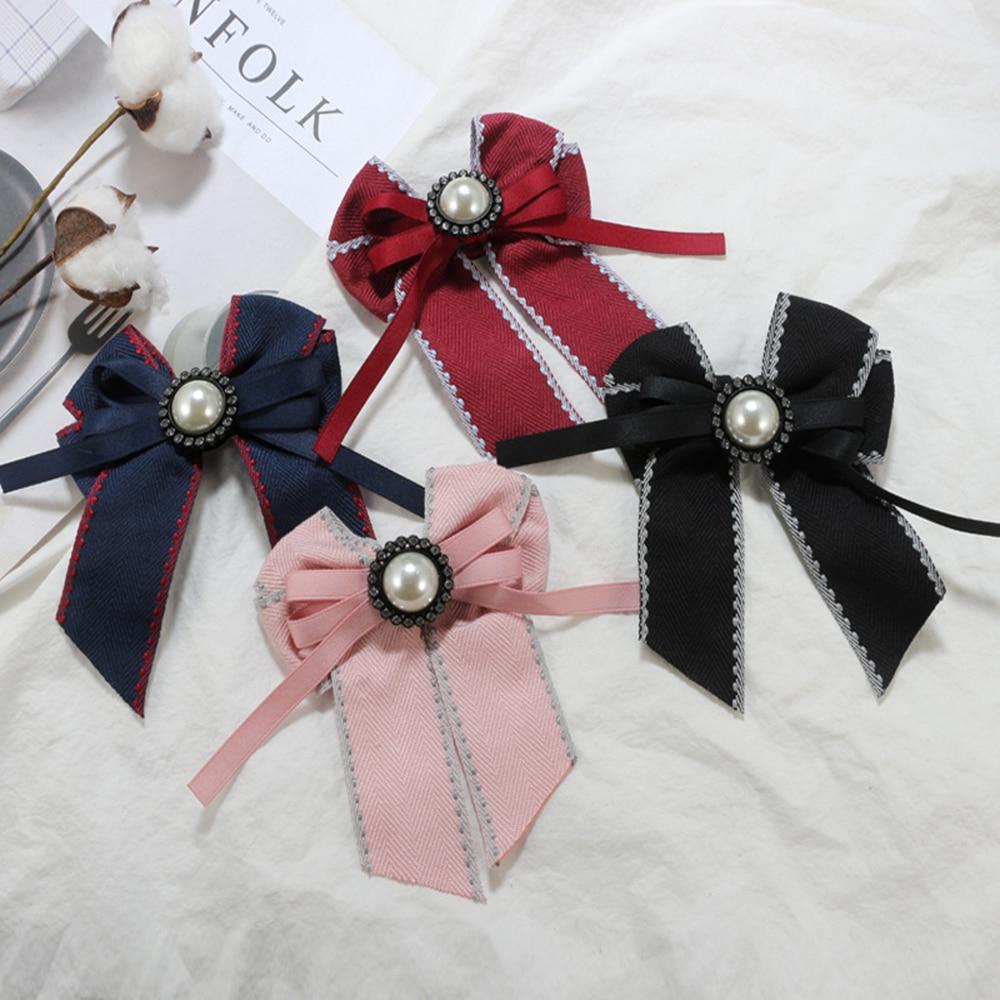 Arco do vintage de Cristal Mulheres Broches Pinos Corsage Broche de Tecido de Lona Bowknot Gravata do laço para As Mulheres Vestuário Acessórios Vestido