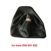 Maçaneta de câmbio de carro lhd 5 e 6 velocidades, bota de couro para bmw 1 series x1 e81 e82 e87 e88 e90 e91 e92