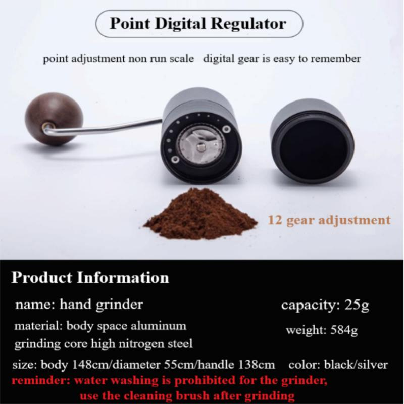 Chestnut Coffee Bean Grinder Portable Hand Portable Household Manual Grinder Grind Machine Mill With Double Bearing Positioning