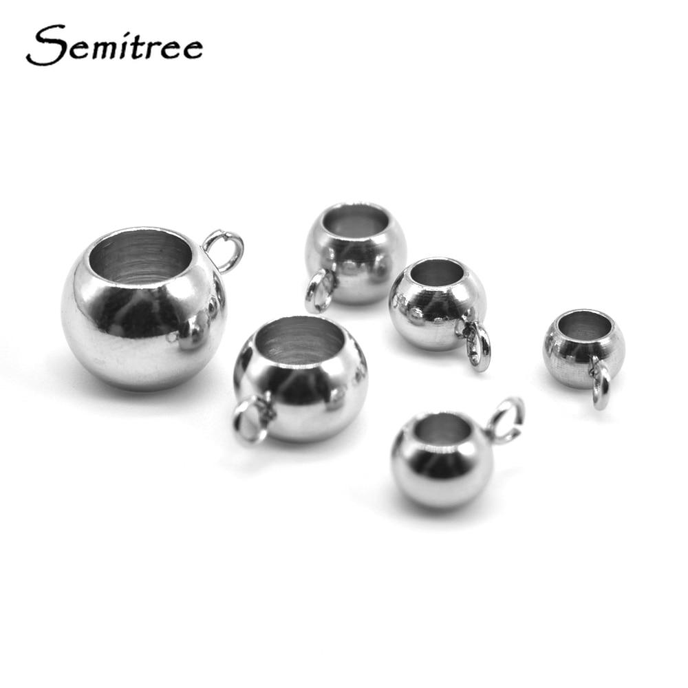 Semitree, 20 piezas, separador de agujeros grandes de acero inoxidable, cuentas sueltas para la fabricación de joyas, dijes, pulseras, suministros de joyería DIY
