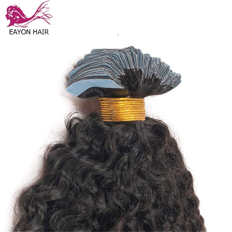 """EAYON 8""""-30"""" Tape In Human Hair Extensions Kinky Curly Seamless Invisible Natural Machine Made Remy Adhesive Extension 40pcs/set"""