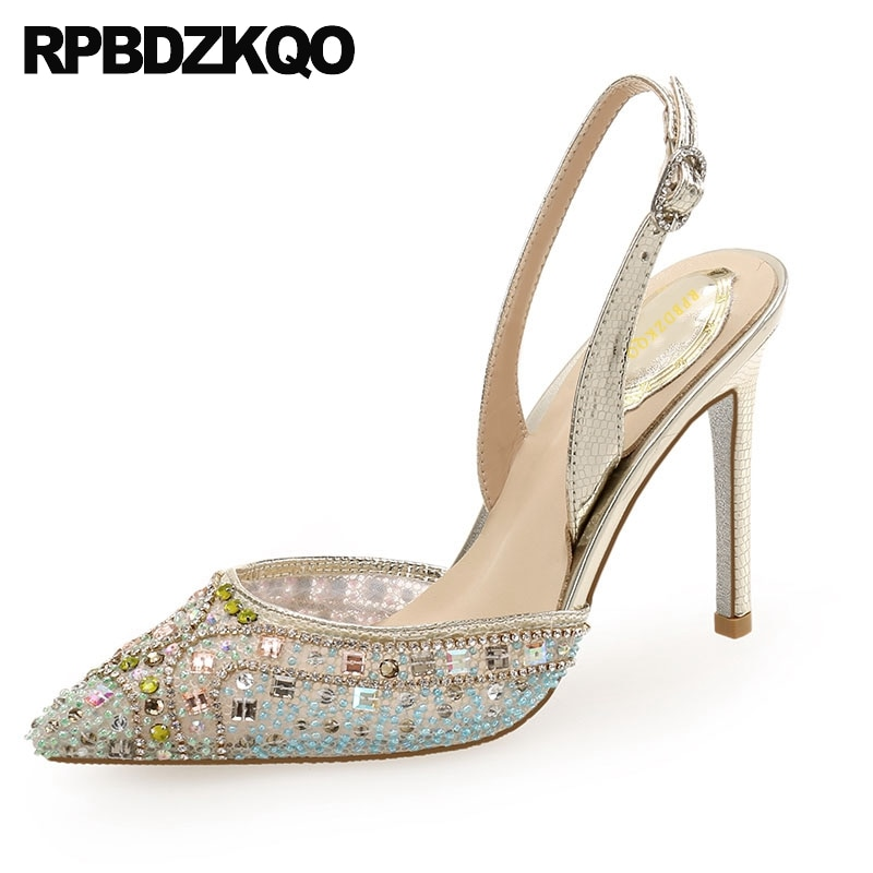 Scarpin colorido malla 8cm bombas de diamantes tacones altos punta puntiaguda zapatos de lujo súper cristal mujeres 2019 ultra Diamante de imitación