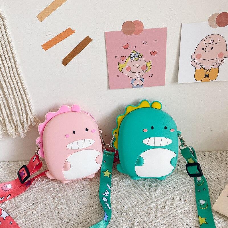 1 Uds. Bolso de mensajero para bebé encantador dibujo de dinosaurio, Mini bolso cruzado de viaje para niños y niñas, bolso Satchel, buen regalo