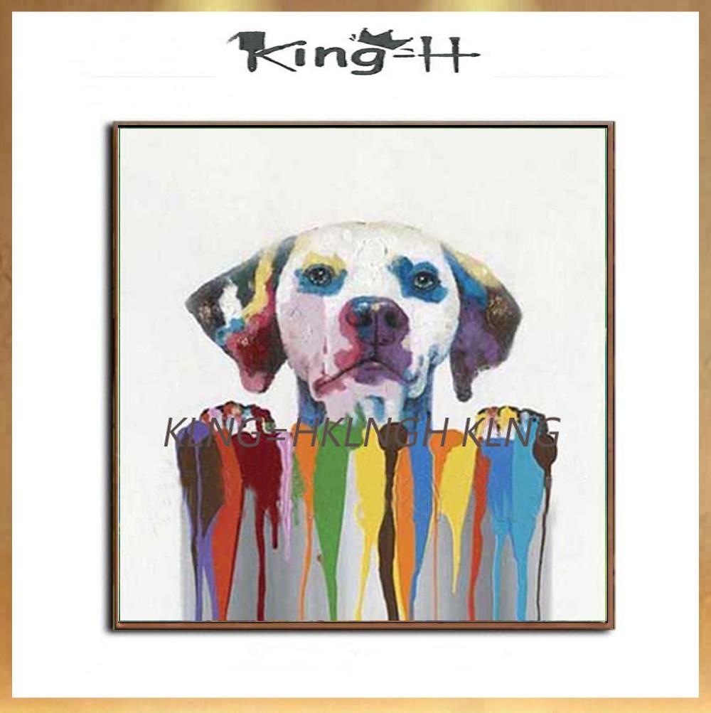 Perro divertido de alta calidad pintado a mano en cubo pintura al...