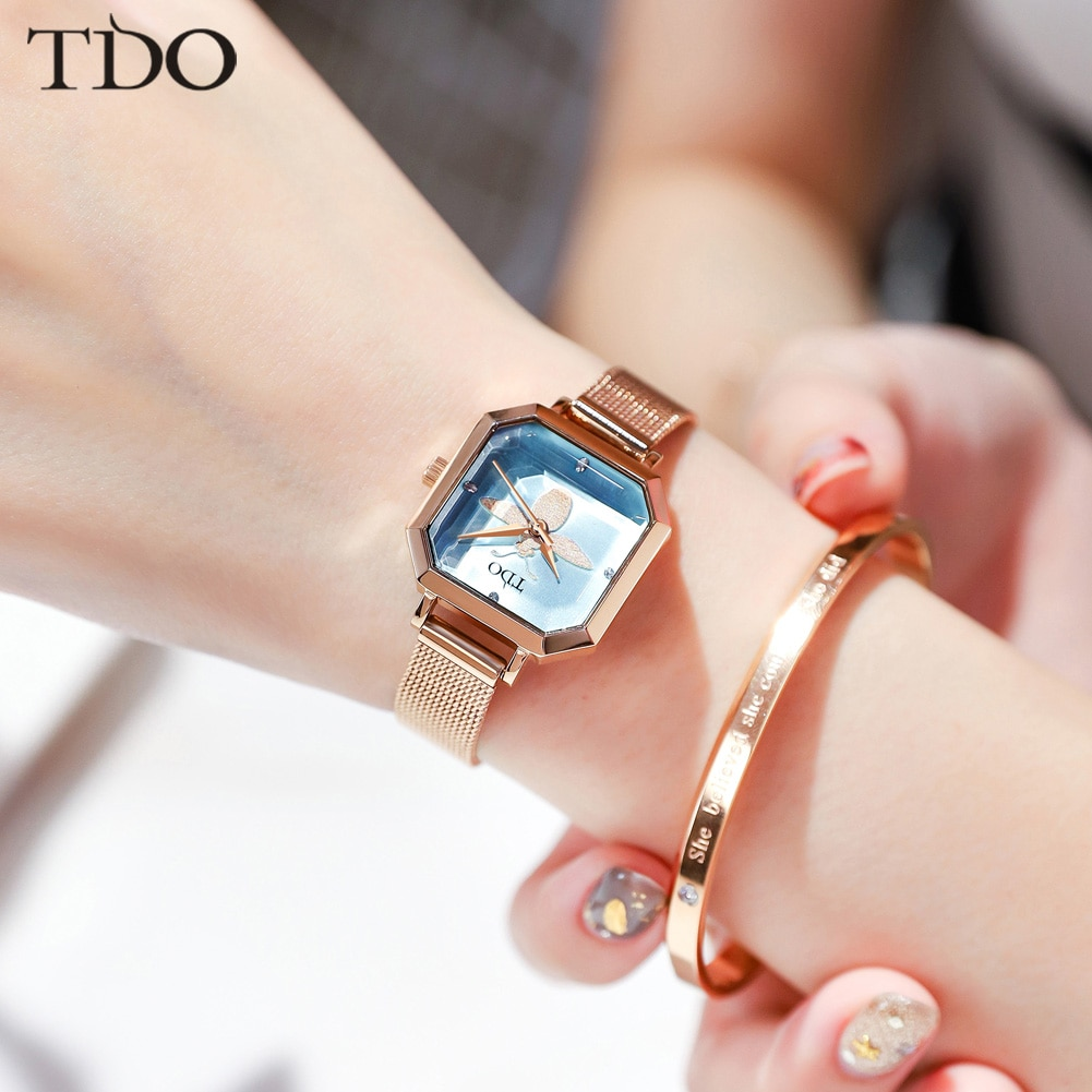 TDO-ساعات نسائية مربعة ، zegarek damski ، سوار فاخر للنساء ، ساعة بحزام جلدي ، 2020