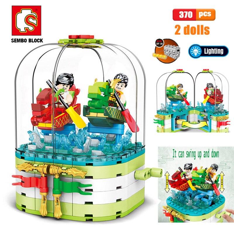 Juguetes para niños, bloques de construcción Friends, caja giratoria de Dragon Boat Race, bloques, juguetes educativos para niños, Kit de modelo DIY, Mini figura Sembo