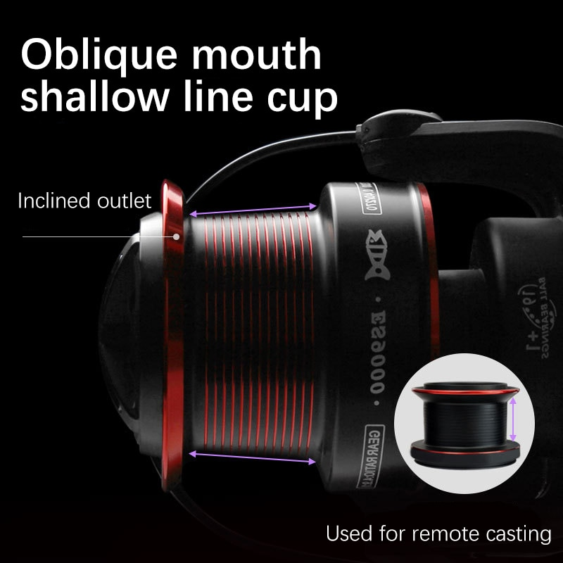 Long Cast Fishing ReelAll-Metal Sturdy Body Oblique Mouth Throwing Line Large Capacity Line Cup 10kg Unloading Force 4.9:1 enlarge