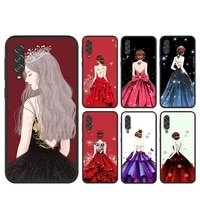 beautiful evening dress girl silicone cover for samsung a90 a80 a70s a50s a40s a30s a20e a20s a10s a10e black phone case