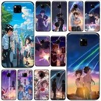 japanese anime your name phone case for huawei mate 9 10 20 pro lite 20x nova 3e p10 plus p20 pro honor10 lite cover funda shell