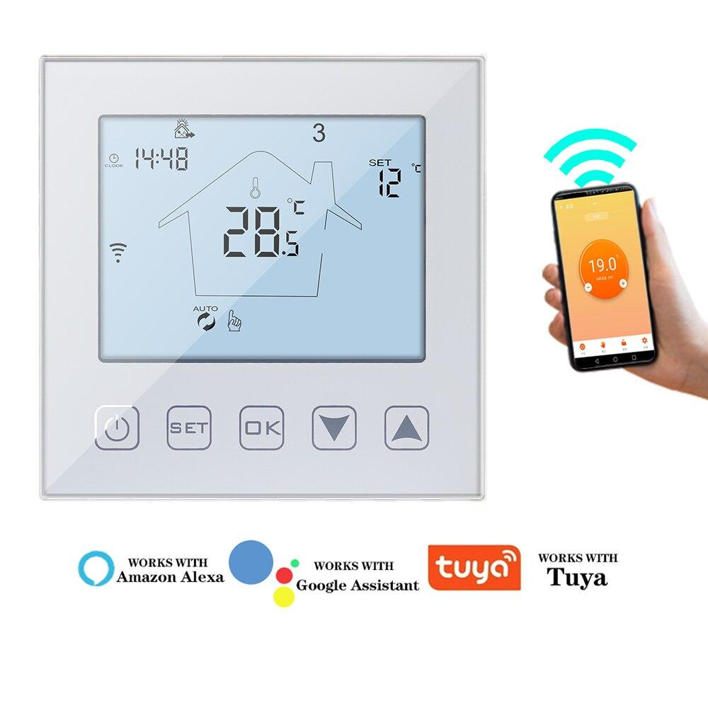 واي فاي ترموستات كهربائي لتدفئة الأرضية ، شاشة LCD تعمل باللمس ، مع إضاءة خلفية ، متحكم في درجة الحرارة ، يعمل مع Alexa Google Home