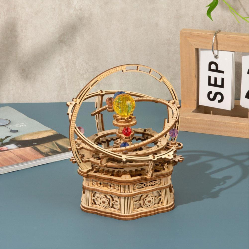 Деревянная 3D головоломка, «сделай сам», сборная техника, деревянная модель, вращающаяся музыкальная ремесла, деревянная шкатулка M6A9