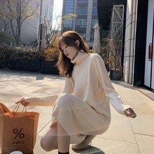 2020 primavera outono feminino camisola vestido soild alta pescoço manga longa moda casual feminino solto temperamento kintted