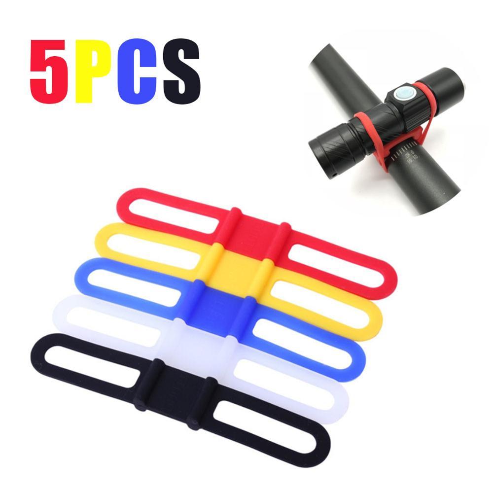 5 uds correa elástica de silicona soporte de lámpara de bicicleta linterna banda de linterna bicicleta luz delantera montura de soporte con Clip herramientas