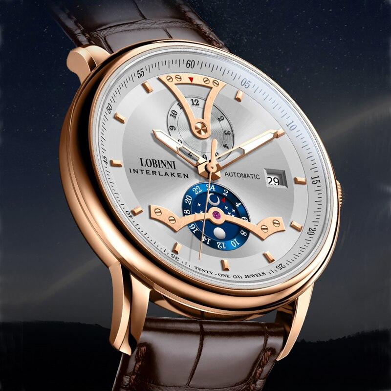 LOBINNI-ساعات رجالية ، ماركة فاخرة ، أوتوماتيكية ، ميكانيكية ، متعددة الوظائف 50 متر ، مقاومة للماء ، ساعة ياقوت مضيئة L18018