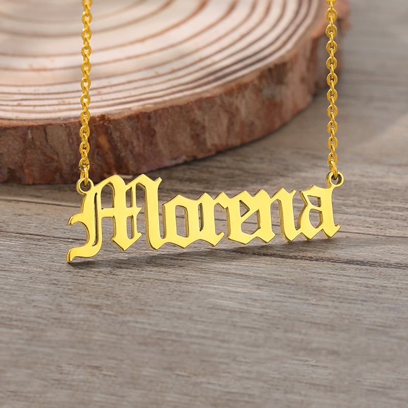 Custom Old English Name Necklaces For Women Men Gold Silver Color Stainless Steel Chain Personalized Pendant Necklace Jewelry catholicism santa maria round shape pendant necklace stainless steel link chain gold color necklace for men and women