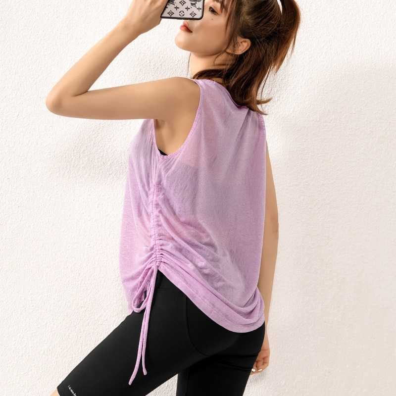 Draw rope ruffled sports top women loose casual breathable summer quick-dry ingest fitness yoga vest short-sleeved T-shirt