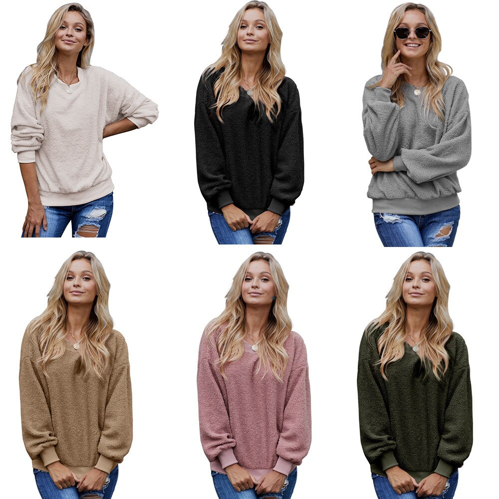 Ropa UVECOS nuevo suéter de cachemir jersey con capucha para mujer cuello redondo manga larga Camiseta suelta
