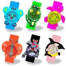 Children Kids Watches Cartoon Snap on Slap Circle Silicone Child Quartz Wrist Watch Gift Waterproof