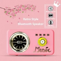 retro style portable wireless bluetooth speaker bass loudspeaker tf card usb play subwoofer mp3 music fm radio speakers