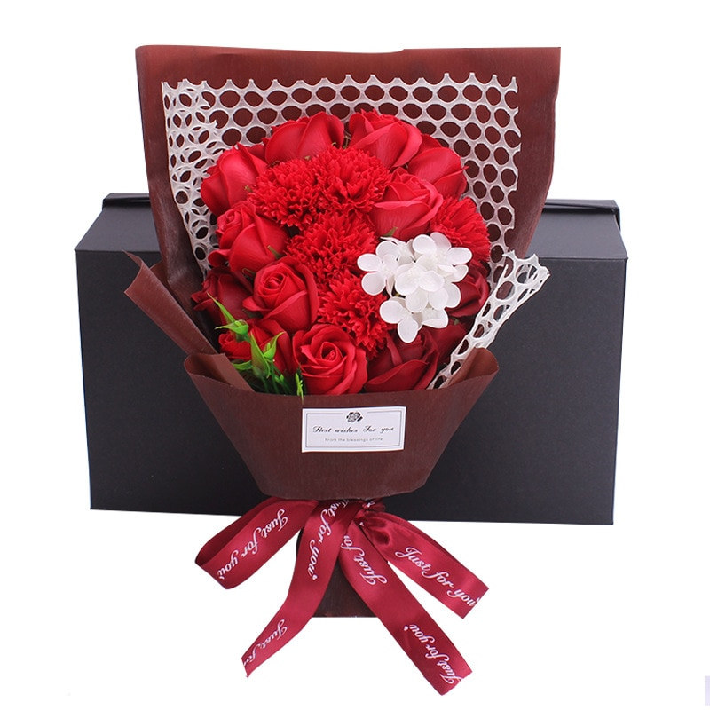 Valentine's Day Gift 19 Roses Flowers, Real Flowers All Over The Sky, Kapok Flowers, Forget-me-not Rose Soap Bouquet Gift Box