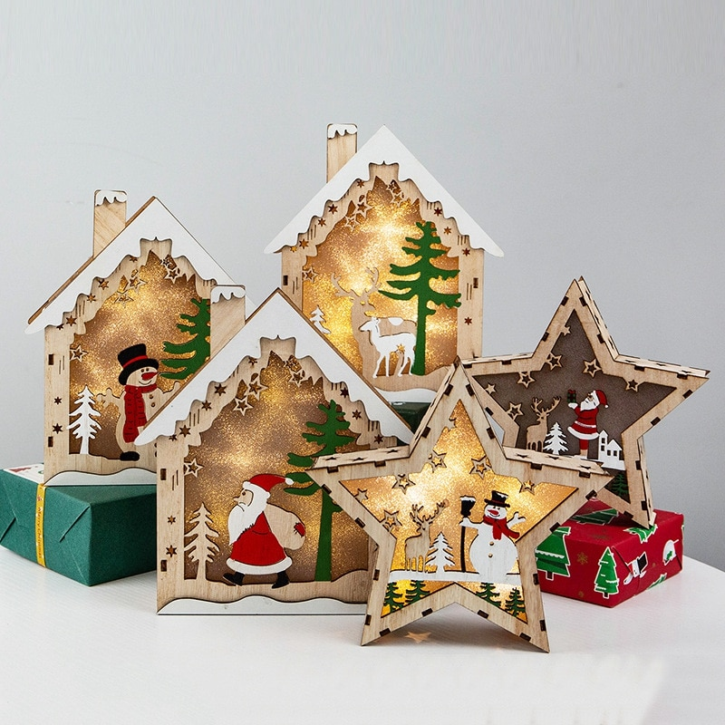 Adorno De madera con luz Led Para decoración De árbol De Navidad,...