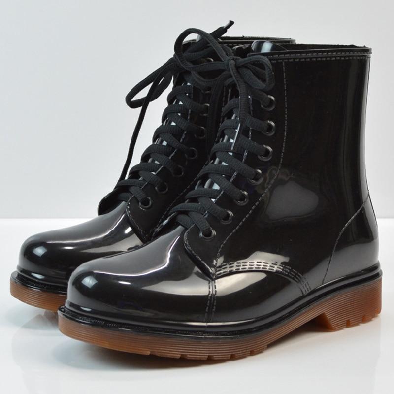 Kalosze damskie buty na niskim obcasie botki trampki gumowe kalosze buty na wodę zasznurować kalosze na deszcz duży rozmiar