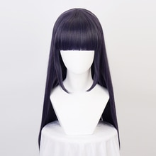 Hyuga Hinata Straight Synthetic Hair Blue Mixed Neat Bang Cosplay Wigs + Wig Cap