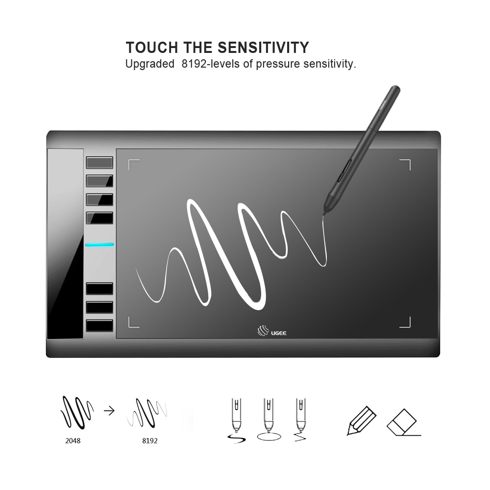 لوح رسم الرسومات UGEE M708 مصمم فني للكتابة اللوحي 266RPS 8192 مستويات اللوحي مع القلم السلبي لنوافذ أندرويد ماك