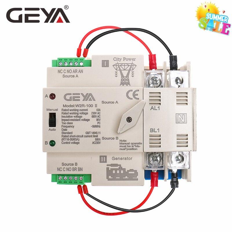 GEYA-مفتاح التحويل التلقائي للسكك الحديدية Din 100A ، 2 القطب ، مفتاح التحويل التلقائي 63A 100A 50/60Hz ، درجة الكمبيوتر ، 220V 110V ، طاقة المدينة إلى مولد الك...