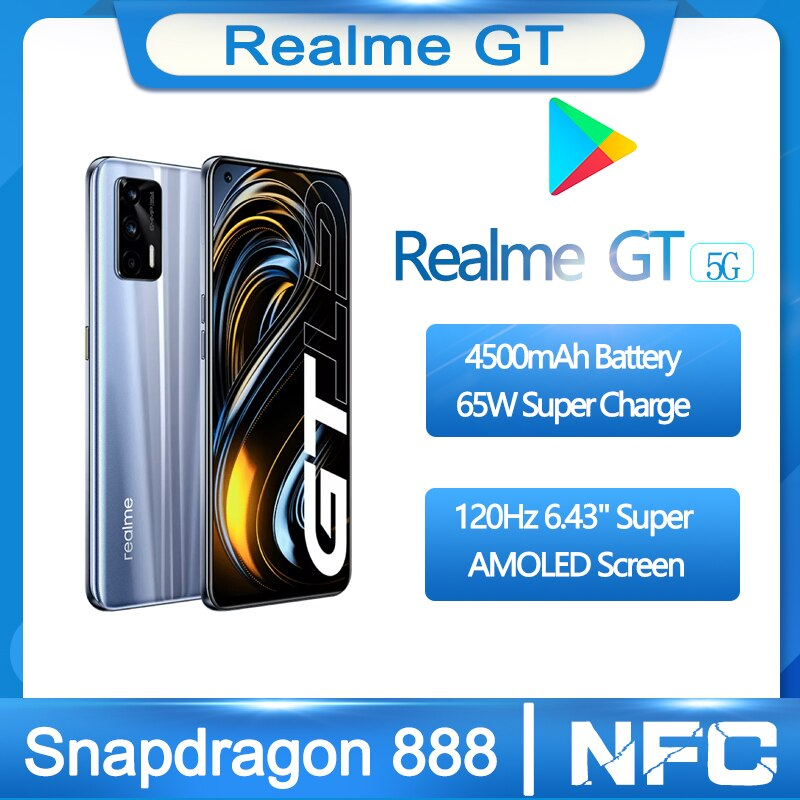 Realme GT оригинальная 5G смартфон 120 Гц 6,43 дюйм Super AMOLED Экран Snapdragon 888 Стекло тела 4500 мА/ч, 65 Вт супер зарядки Android 11