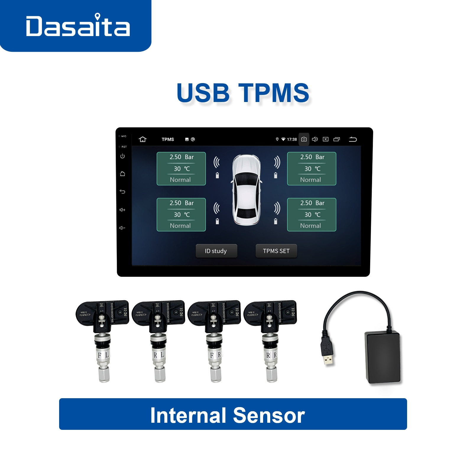 Dasaita tpms sensor external android System for Digital USB Auto Security Car Alarm Tire Pressure Se