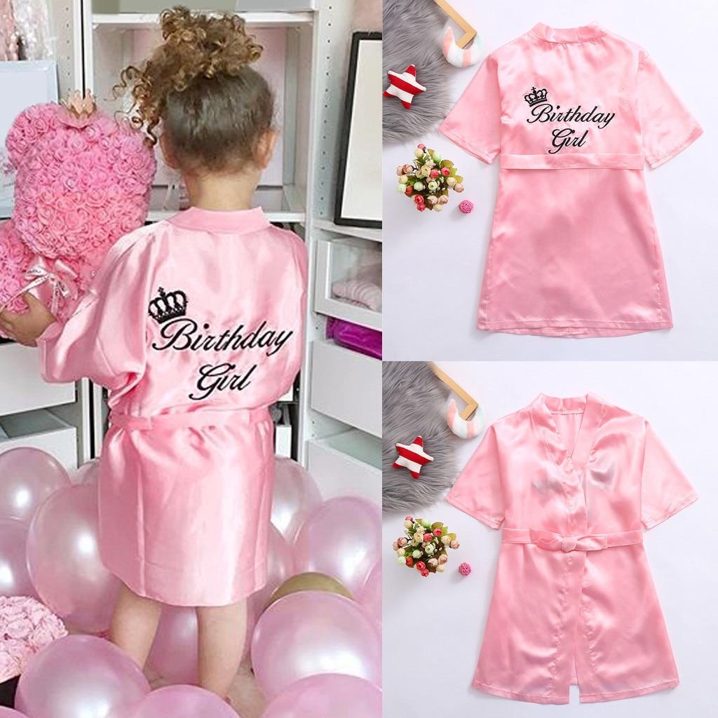 New Kids Robe Satin Children Summer Kimono Bath Robes Bridesmaid Birthday Girl Dress Silk Children G