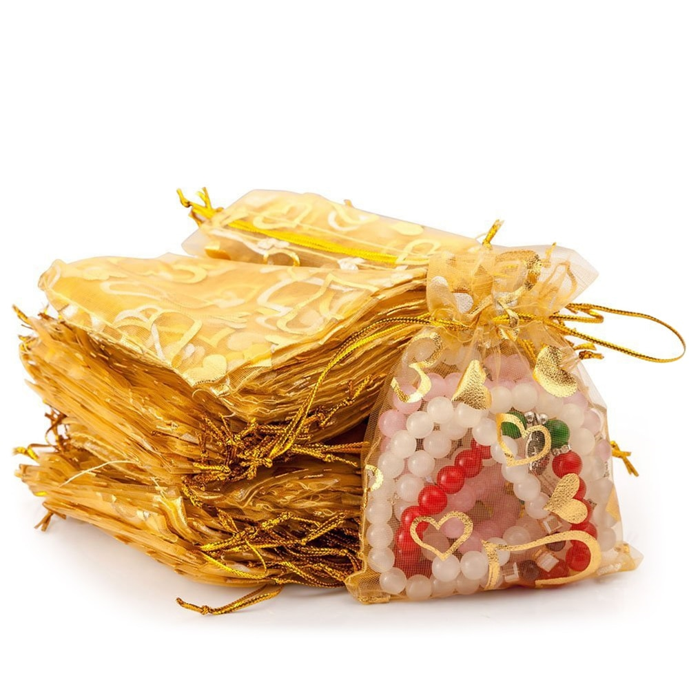 100pcs Gold Organza Gift Bags with Drawstring Jewelry Candy Chocolate Bags Pouches for Wedding Party Birthday Christmas Holiday