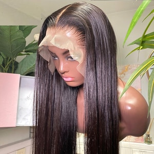 Cheap Synthetic Lace Front Wigs for Black Women Natural Black Color soft Straight  Wigs for Daily Use Heat Resistant Synthetic