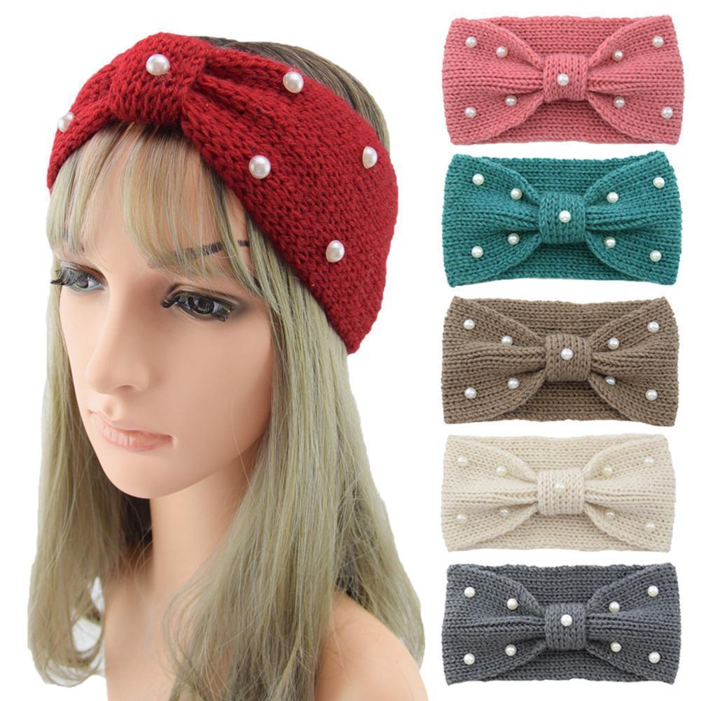 Women Winter Crochet Knit Headband Imitation Pearl Bow bow Warmer headband Cute Ear Hairband I7E7