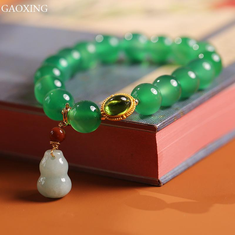 Natural Green Yellow Agate Womens Fashion Round Bead Bracelet 14K Gold With Jade Small Gourd Jewelry