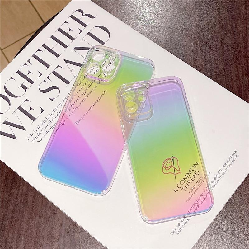Funda de teléfono transparente colorida para iPhone, carcasa protectora ultrafina para iPhone...