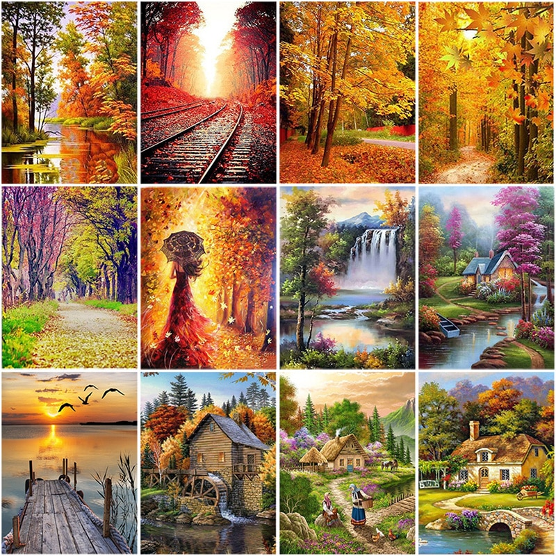 DIY 5D Diamond Painting Waterfall Diamond Embroidery Cross Stitch Autumn Landscape Tree Full Round Drill Art Wall Home Decor
