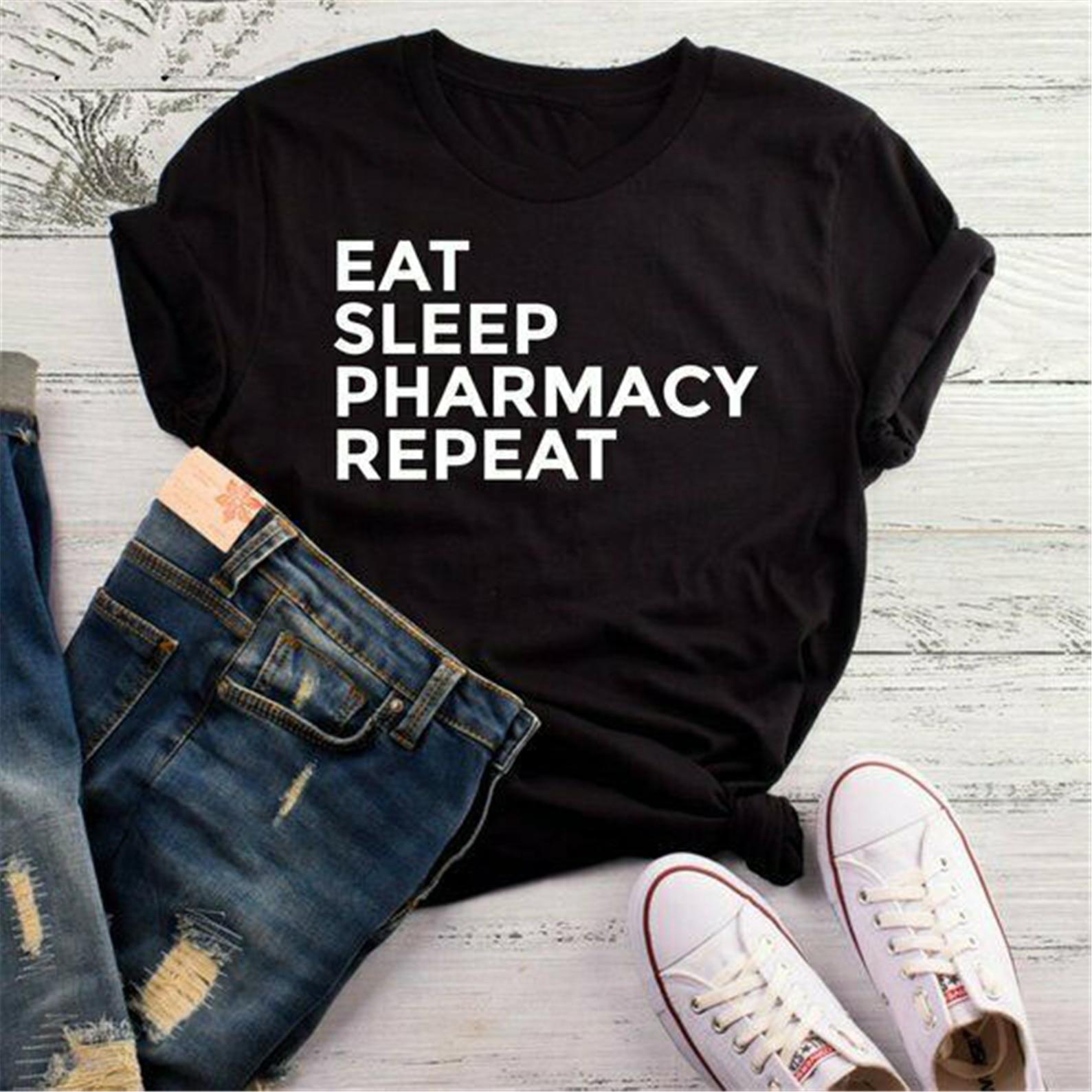 Camiseta Eat Sleep Pharmacy Repeat, camiseta farmacéutica, camisetas de regalo para farmacéutico, camiseta Popular