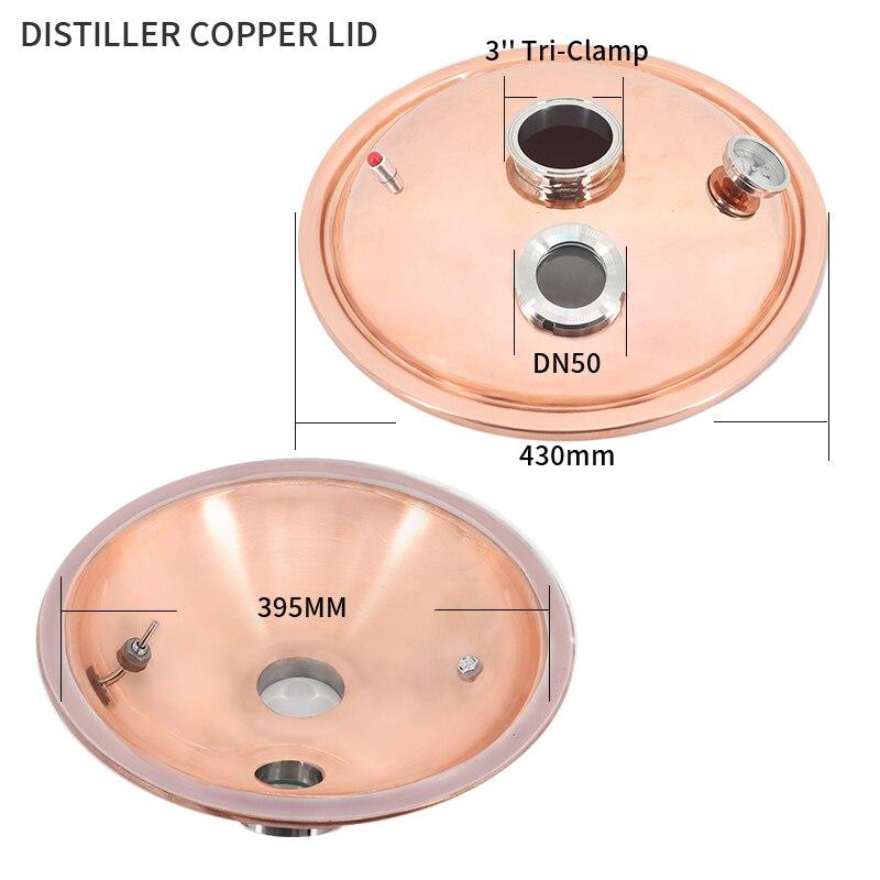 """Nueva tapa de destilador de cobre HOOLOO, diámetro de 430mm, puerto de abrazadera de 3 """", puerto de abrazadera de 3"""", alta calidad"""