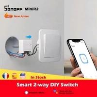 1-30 Pieces SONOFF MINIR2 Wifi Mini R2 Interrupteur Minuterie Commutateurs Sans Fil Dautomatisation Intelligent Compatible avec eWelink Alexa Google Home