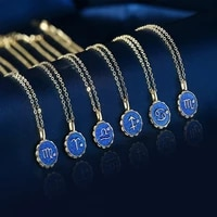 2021 fashion blue enamel 12 constellation necklace for women sun flower shape 12 zodiac pendent necklace jewelry gift