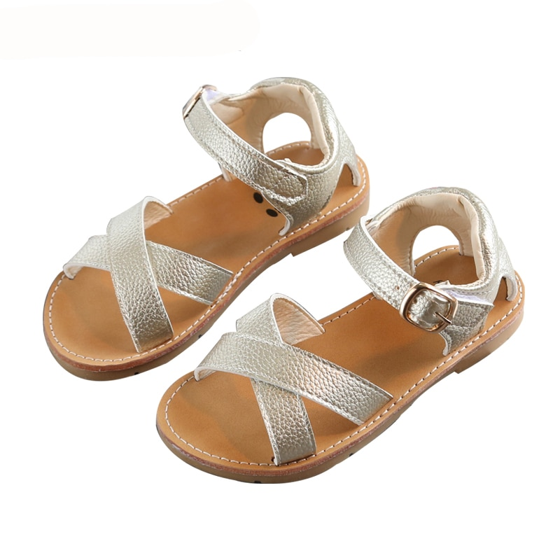 2021 Summer Toddler Girl Shoes Classic Style Girls Crossed Straps Open Toe Sandals Size 21-30