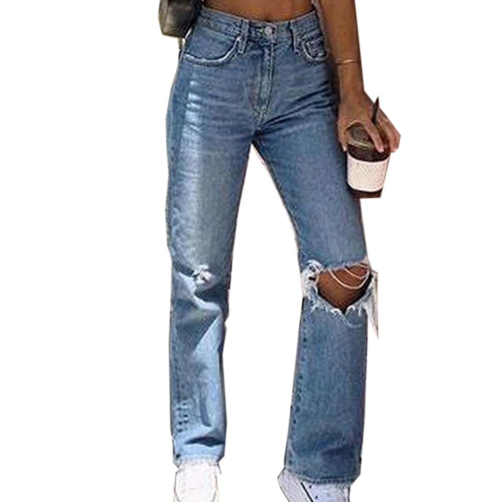هول المرأة الجينز عادية ممزق المرأة الدينيم السراويل الأزرق الإناث عالية الخصر المتعثرة بنطلون طويل الجينز الإناث